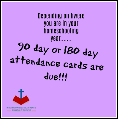 90 and 180 day attendance cards are due